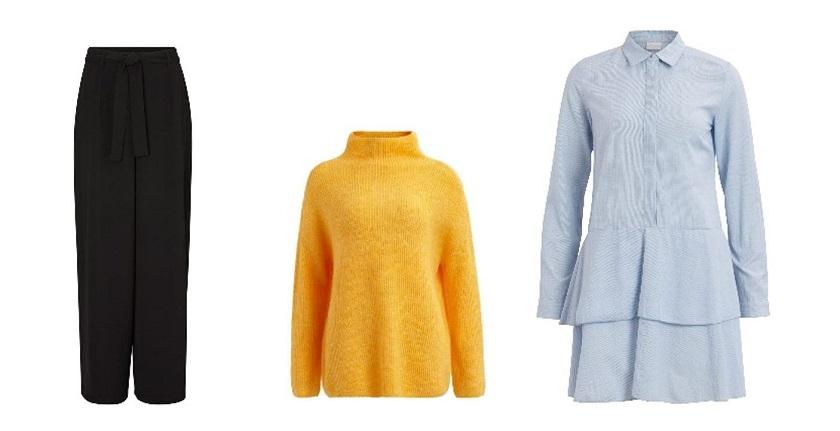 Zum Nachstylen: schwarze Hose von Vero Moda, gelber Pullover von Vila, und ein blaues Blusenkleid von Vila.