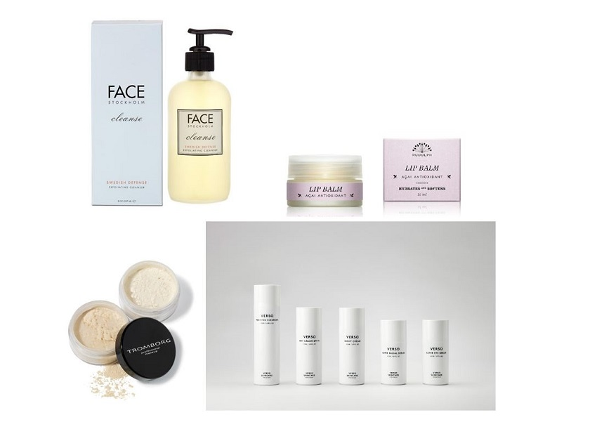 Face Cleanser Face Stockholm, Lipbalm Rudolph Cate, Verso Skin care, Tromborg Mineral Make-up.