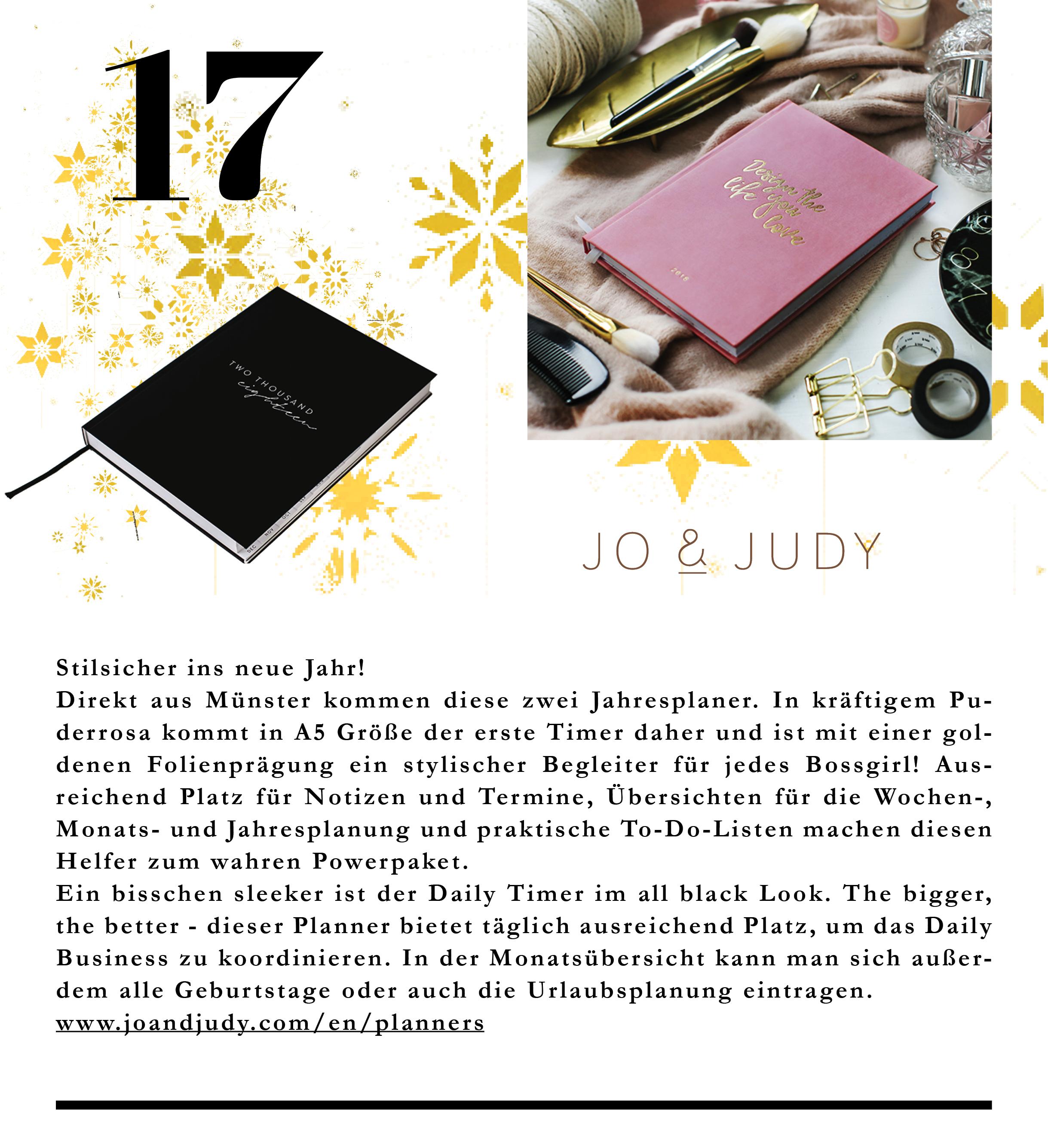 Sleekes Schwarz und Millenialpink sind die Farben für diese stylischen Jahresplaner von Jo & Judy.