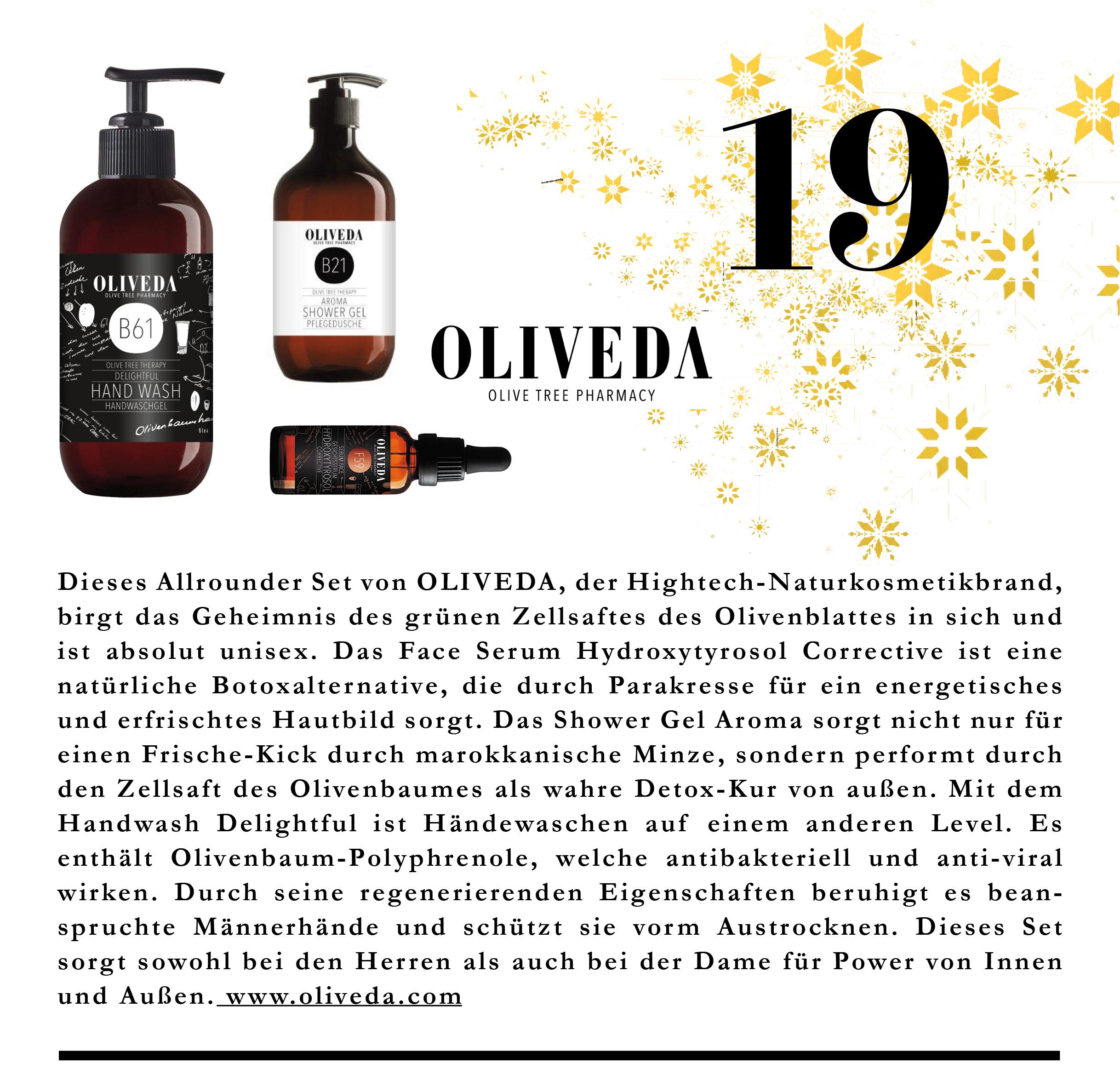 Die Hightech-Naturkosmetikbrand Oliveda ist Detox von Außen und Innen und total unisex.