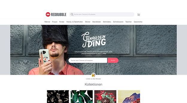Die Red Bubble Homepage ist wirklich super cool.
