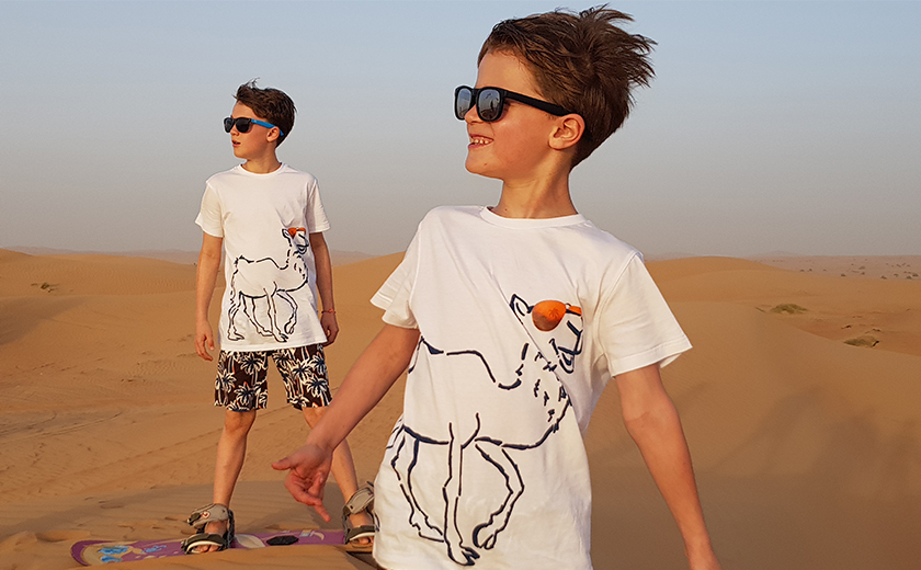Meine beiden Jungs in il gufo auf unserem Wüstenausflug.